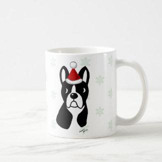 Boston Terrier Christmas Cartoon Snowflake Basic White Mug