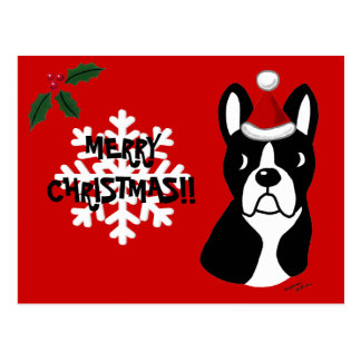 Boston Terrier Christmas Cartoon Snowflake Postcard