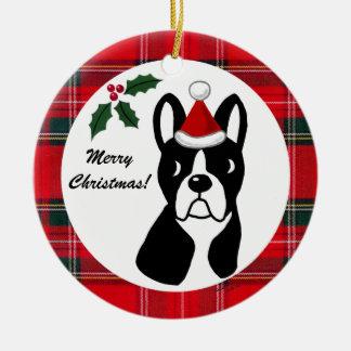 Boston Terrier Christmas Cartoon Tartan Christmas Ornament