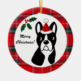 Boston Terrier Christmas Cartoon Tartan Round Ceramic Decoration
