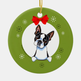 Boston Terrier Christmas Classic Round Ceramic Decoration