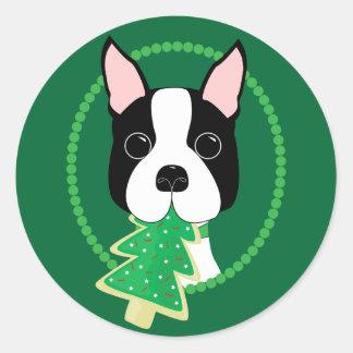 Boston Terrier Christmas Classic Round Sticker