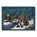 Boston Terrier Christmas Evening Greeting Card