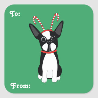 Boston Terrier Christmas Gift Tag Stickers