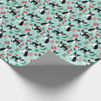 Boston Terrier Christmas Gift Wrap Wrapping Paper