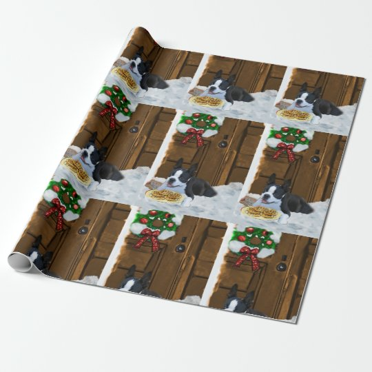 Boston Terrier Christmas Gifts Wrapping Paper