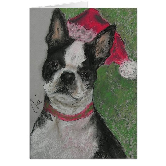 Boston Terrier Christmas Holiday Greeting Card