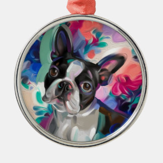 Boston Terrier Christmas Ornament | Floral dog art