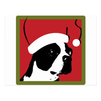 Boston Terrier Christmas Post Card
