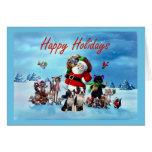 Boston Terrier Christmas Santa and Animals Greetin Cards