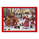Boston Terrier Christmas Santa and Bears Greeting  Greeting Card