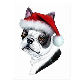 Boston Terrier Christmas Santa Postcard