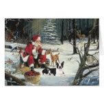 Boston Terrier Christmas Santa Woods Card