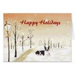 Boston Terrier Christmas Urban Card