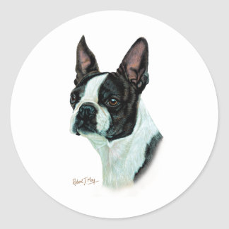 Boston Terrier Classic Round Sticker