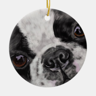 Boston Terrier Close Up Christmas Ornament