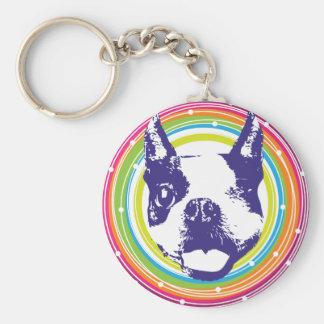 Boston Terrier - Colorful Circles Basic Round Button Key Ring