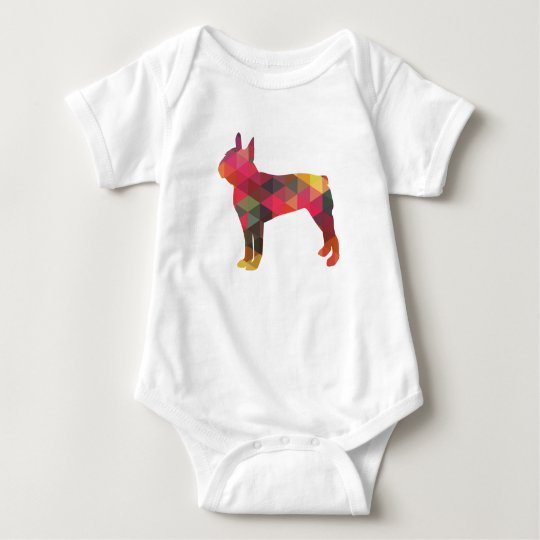 Boston Terrier Colourful Geometric Silhouette Baby Bodysuit