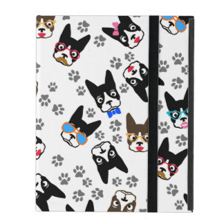 Boston Terrier Cute Mustache Funny Faces iPad Folio Case