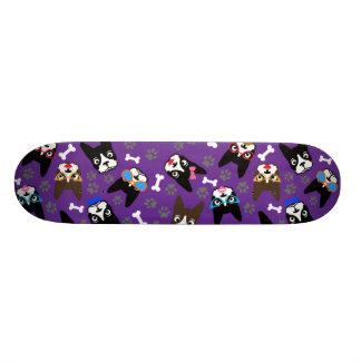 Boston Terrier Cute Mustache Funny Faces Skate Board Deck