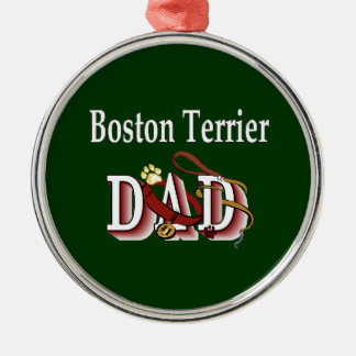 Boston Terrier Dad Silver-Colored Round Decoration