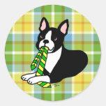 Boston Terrier Daddy 1 Plaid Round Sticker