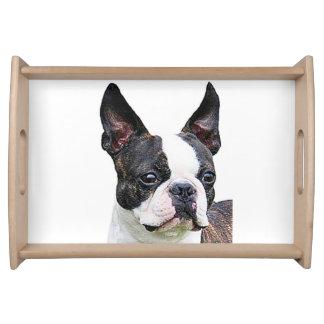 """Boston terrier"" design serving trays"