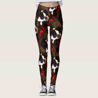 Boston Terrier dog art leggings