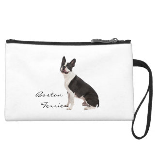 Boston Terrier dog beautiful photo, custom gift Suede Wristlet