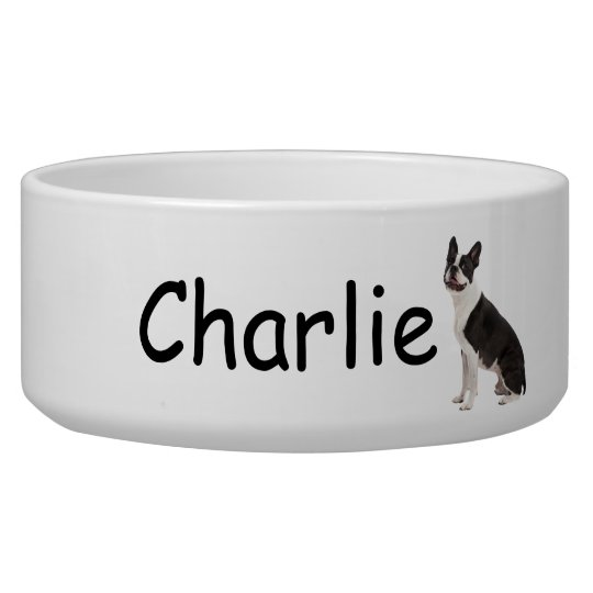 Boston Terrier dog beautiful photo custom pet bowl