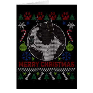 Boston Terrier Dog Breed Ugly Christmas Sweater Card