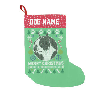 Boston Terrier Dog Breed Ugly Christmas Sweater Small Christmas Stocking