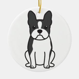 Boston Terrier Dog Cartoon Christmas Ornament