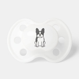Boston Terrier Dog Cartoon Pacifiers