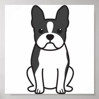 Boston Terrier Dog Cartoon Poster
