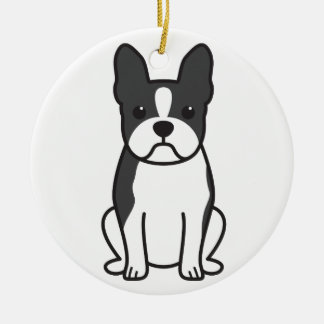 Boston Terrier Dog Cartoon Round Ceramic Decoration