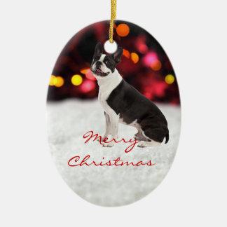 Boston Terrier dog custom christmas tree ornament