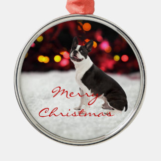 Boston Terrier dog custom christmas tree ornament