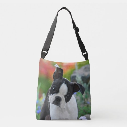 Boston Terrier Dog Cute Puppy Photo on Crossbody