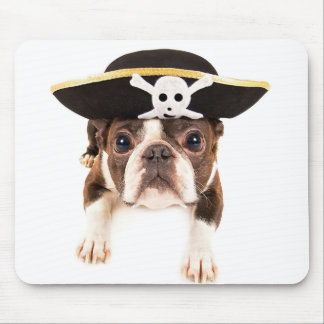 Boston Terrier Dog Dressed As A Pirate Mouse Mat