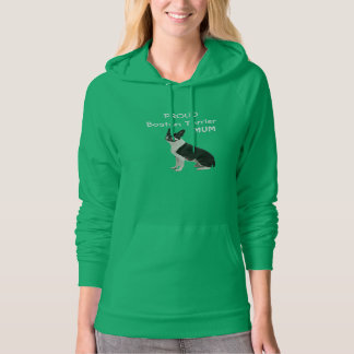 Boston Terrier dog proud mum custom womens fleece Hoodie