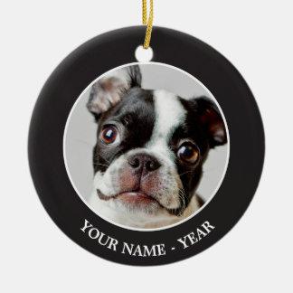 Boston Terrier dog puppy. Christmas Ornament