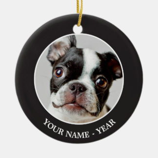 Boston Terrier dog puppy. Round Ceramic Decoration