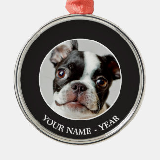 Boston Terrier dog puppy. Silver-Colored Round Decoration