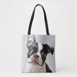 Boston Terrier dog puppy. Tote Bag