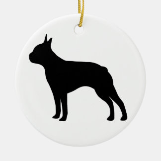 Boston Terrier Dog Round Ceramic Decoration