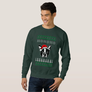 Boston Terrier Dog Ugly Christmas Ho Ho Ho Sweatshirt