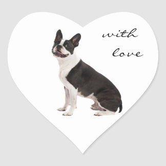 Boston Terrier dog with love custom stickers