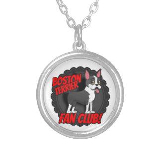 Boston Terrier Fan Club Round Pendant Necklace