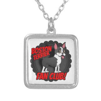 Boston Terrier Fan Club Square Pendant Necklace